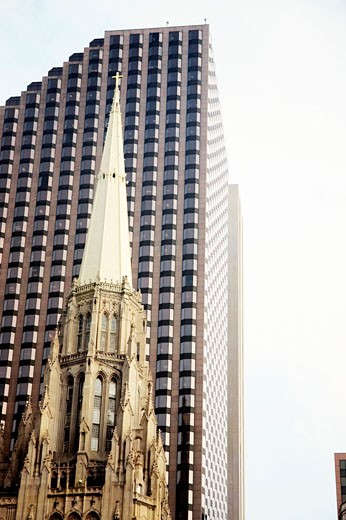 Top of the steeple of a church, Chicago, Illinois, USA : Stock Photo