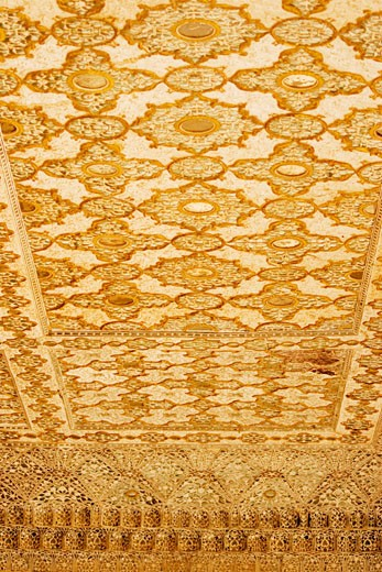 Low angle view of the ceiling of a fort, Amber Fort, Jaipur, Rajasthan, India : Stock Photo