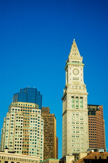 Low angle view of buildings in a city, Custom House, Boston, Massachusetts, USA : Stock Photo