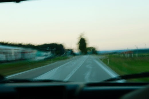 Stock Photo: 1663R-39367 View of the road seen from a car, Czech Republic