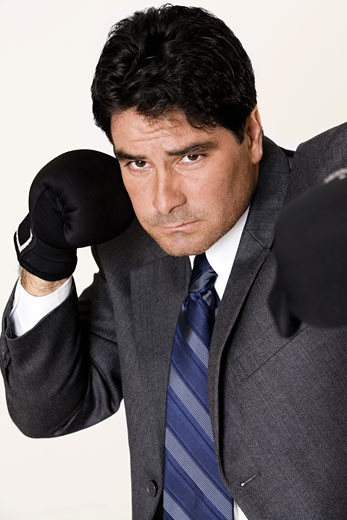 Portrait of a businessman wearing boxing gloves : Stock Photo