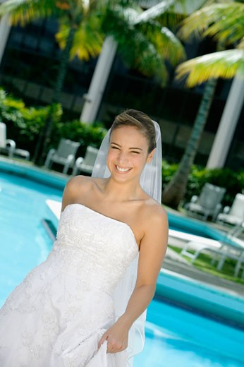Stock Photo: 1663R-41609 Portrait of a bride smiling