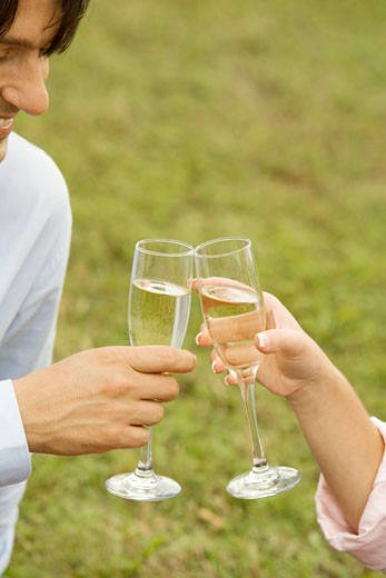 Close-up of a businessman and a woman toasting with champagne flutes : Stock Photo