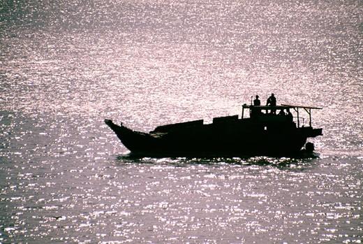 Fishing boat in the Saigon River Delta, Vietnam : Stock Photo