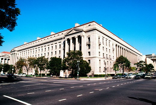 Low angle view of a government building, Justice Department, Washington DC, USA : Stock Photo