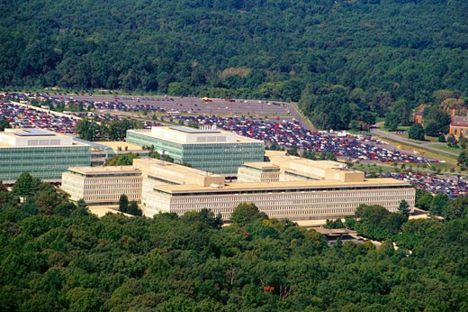 Aerial view of a parking lot beside a government building, CIA headquarters, Virginia, USA : Stock Photo