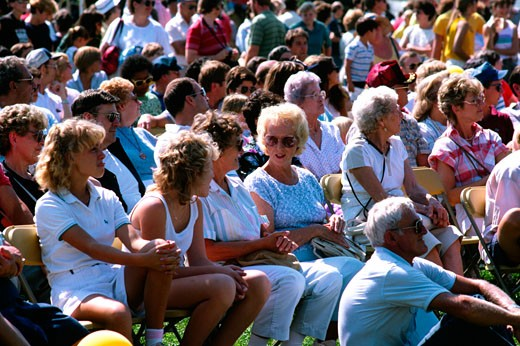 Crowd watching perfomance , Maryland seafood festival - Sandy PT : Stock Photo