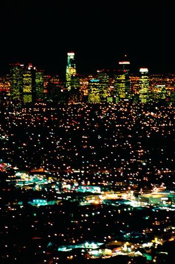 Los Angeles skyline at night, California : Stock Photo