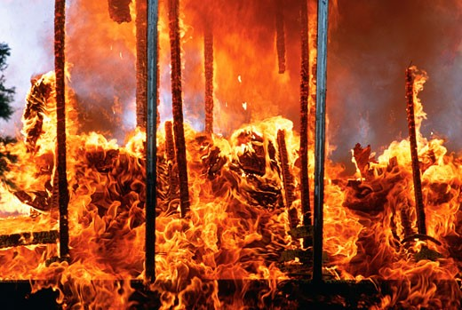 Flames emitting out of a burning house, Montgomery County, Maryland, USA : Stock Photo