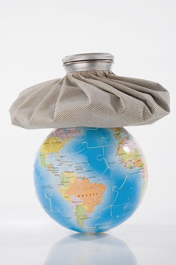 Close-up of an icebag on a globe : Stock Photo