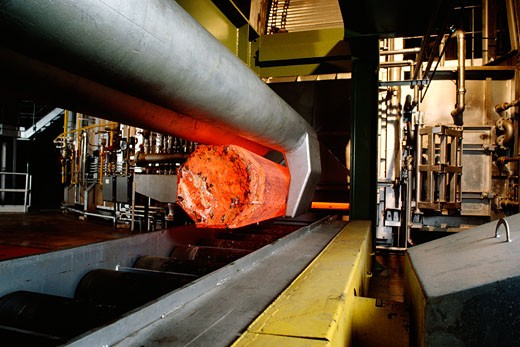 Stock Photo: 1663R-5168 Hot steel coming out of a blast furnace