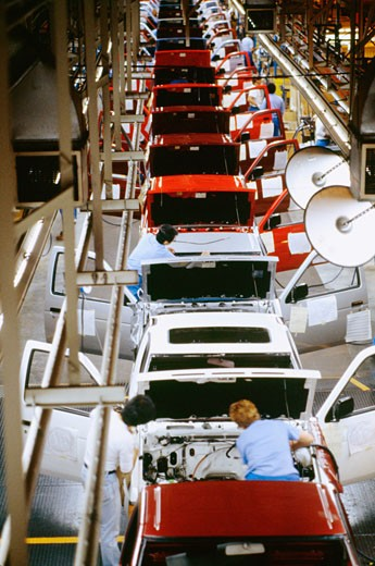 High angle view of cars on an assembly line in a factory, Smyrna, Tennessee, USA : Stock Photo