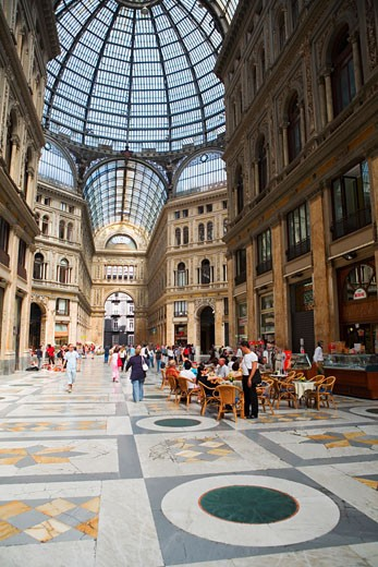 Stock Photo: 1663R-53645 Group of people in a shopping mall, Galleria Umberto I, Naples, Naples Province, Campania, Italy