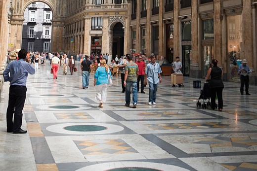 Group of people in a shopping mall, Galleria Umberto I, Naples, Naples Province, Campania, Italy : Stock Photo