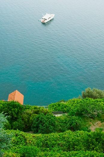 High angle view of a cruise ship in the sea, Costiera Amalfitana, Salerno, Campania, Italy : Stock Photo
