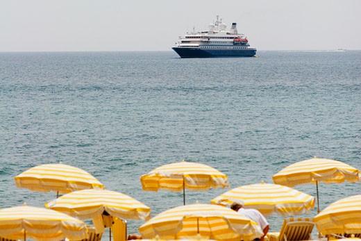 Stock Photo: 1663R-54209 Ferry in the sea, Plage De La Croisette, Cote d'Azur, Cannes, Provence-Alpes-Cote D'Azur, France