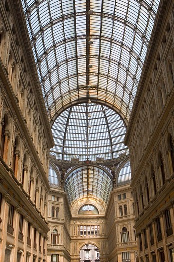 Stock Photo: 1663R-54215 Interiors of a shopping mall, Galleria Umberto I, Naples, Naples Province, Campania, Italy