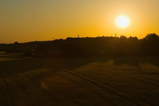 Stock Photo: 1663R-54242 Sunset over a landscape, Loire Valley, France