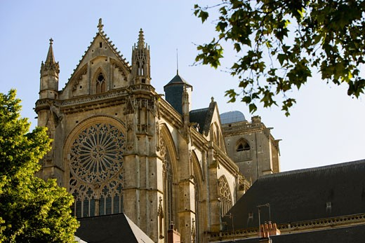 Low angle view of a cathedral, Le Mans Cathedral, Le Mans, France : Stock Photo