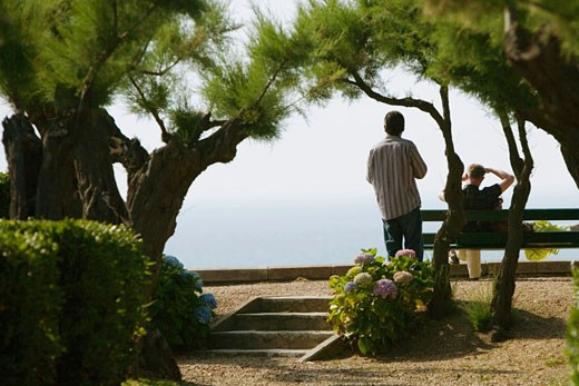 Stock Photo: 1663R-54510 Rear view of two men in a garden, St. Martin, Biarritz, France