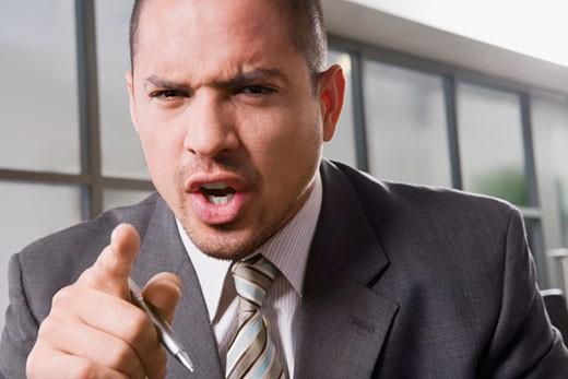 Portrait of a businessman shouting : Stock Photo