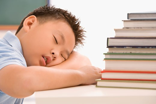 Close-up of a schoolboy napping in a classroom : Stock Photo