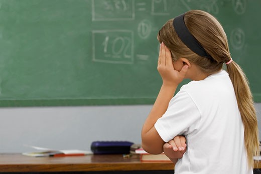 Stock Photo: 1663R-57594 Side profile of a schoolgirl looking sad