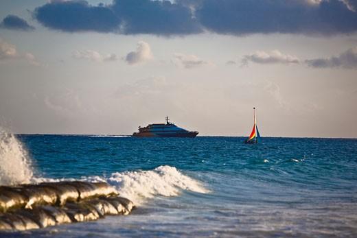 Stock Photo: 1663R-59318 Cruise ship in the sea, Playa Del Carmen, Quintana Roo, Mexico