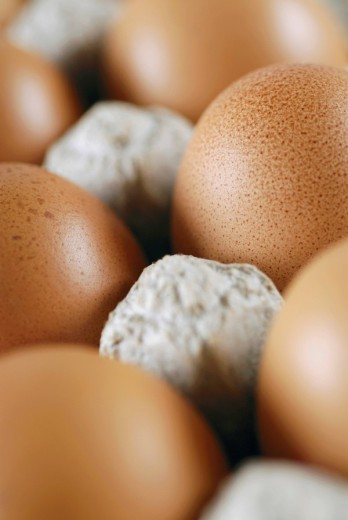 Close_up of eggs in a carton : Stock Photo