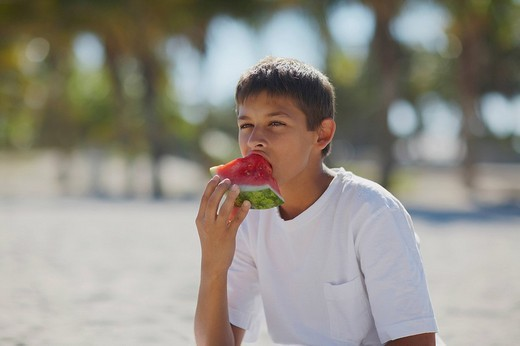 Stock Photo: 1663R-61580 Teenage boy eating a slice of watermelon