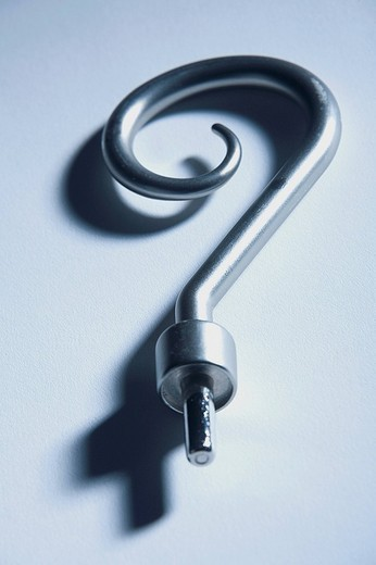 Close_up of a hook in the shape of a question mark : Stock Photo