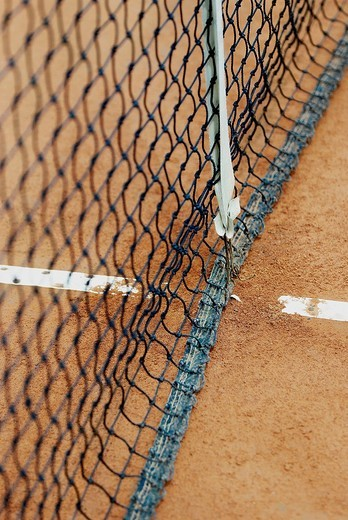 Close_up of a tennis net on a tennis court : Stock Photo