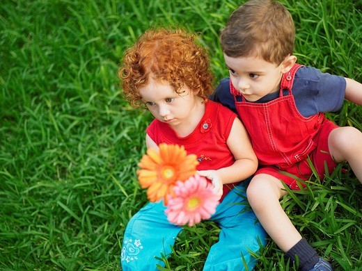 High angle view of a girl and her brother holding artificial flowers : Stock Photo