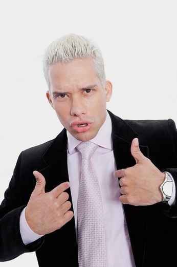 Stock Photo: 1663R-68132 Portrait of a businessman pointing at himself