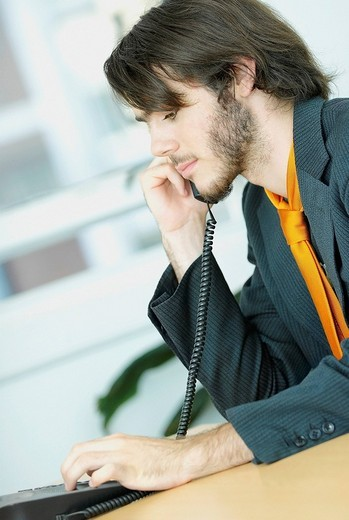 Stock Photo: 1663R-68286 Side profile of a businessman using a telephone