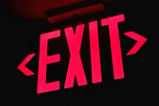 Stock Photo: 1663R-68846 Close_up of an exit sign