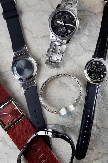 Stock Photo: 1663R-69586 Close_up of wristwatches