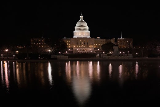 Stock Photo: 1663R-7647 Government building lit up at night, Capitol Building, Washington DC, USA