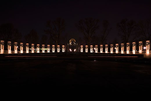 Stock Photo: 1663R-7651 Memorial lit up at night, World War II, Washington DC, USA