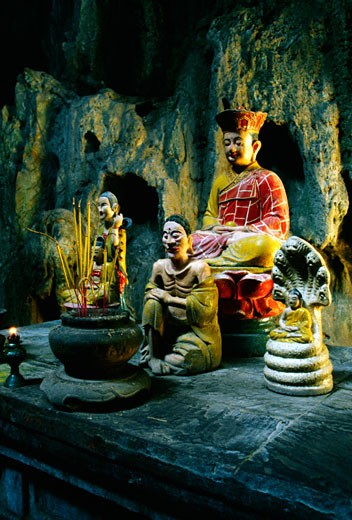 Altar at the Cave temple, Marble Mountain, Danag, Vietnam : Stock Photo