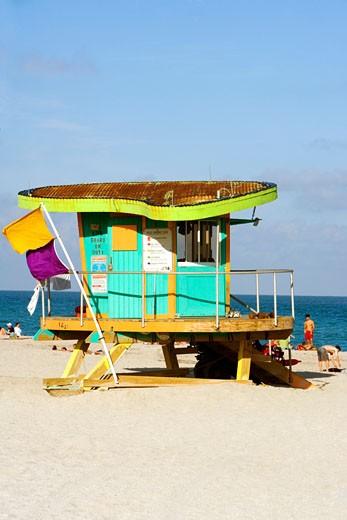 Stock Photo: 1663R-7911 Lifeguard hut on the beach, South Beach, Miami, Florida, USA