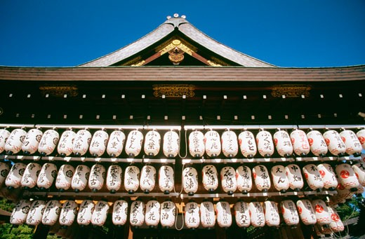 Stock Photo: 1663R-8367 Low angle view of lanterns hanging from the roof of a temple, Kiyomizu Temple, Kyoto, Japan