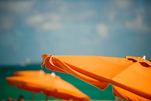 Close-up of a beach umbrella, Miami, Florida, USA : Stock Photo