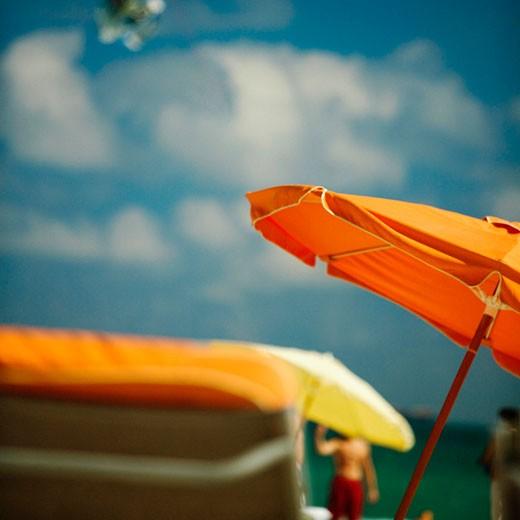Close-up of a beach umbrella, Miami Beach, Miami, Florida, USA : Stock Photo