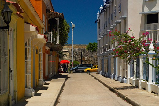 Buildings on both sides of an alley, Cartagena, Colombia : Stock Photo