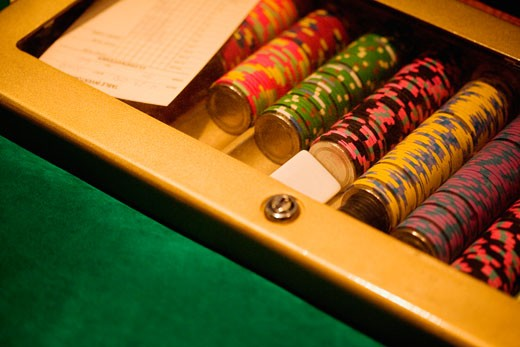 High angle view of gambling chips, Las Vegas, Nevada, USA : Stock Photo