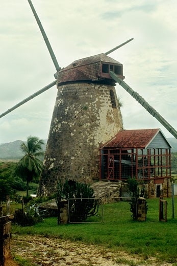 Stock Photo: 1663R-9012 A deserted windmill once used to process sugar cane at Barbados, Caribbean