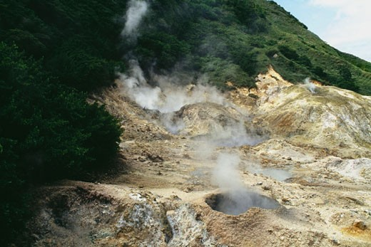 View of an active sulphur volcano on the island of St. Lucia : Stock Photo