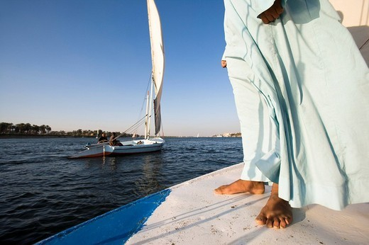 felucca on river nile near luxor : Stock Photo