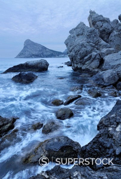 Stock Photo: 1669-33247 Black Sea coast on Crimea in Ukraine with Koba_Kaya Mountain